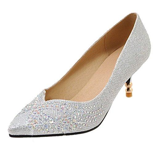 AIYOUMEI Damen Spitz Glitzer Kleinem Absatz Pumps mit 6cm Absatz und Strass Stiletto High Heels Modern Pailletten Pumps Schuhe