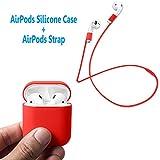 AirPods Case Schutz, FRTMA Silikon Skin Case mit Sport Strap für Apple AirPods, Rot
