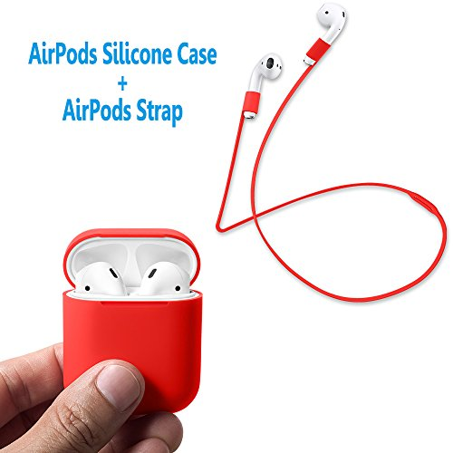 AirPods Case Protective, FRTMA Silicone Skin Case with Sport Strap for Apple AirPods (Red)