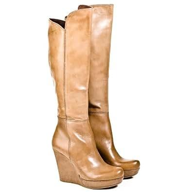 Daniel Wisdom Womens Knee High Wedge Boot Beige Leather UK 8
