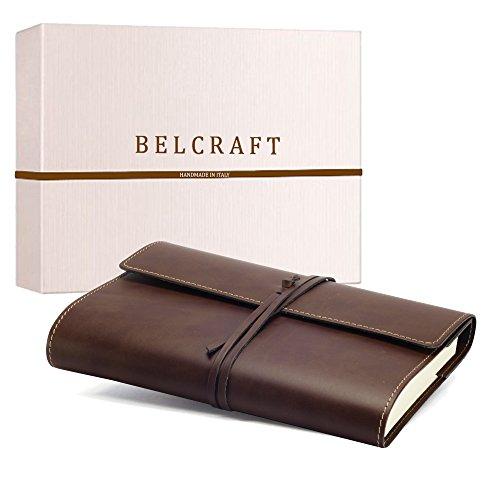Vietri Classico A5 mittelgroßes Notizbuch aus recyceltem Leder, Handgearbeitet in klassischem Italienischem Stil, Geschenkschachtel inklusive, Tagebuch A5 (15x21 cm) Braun
