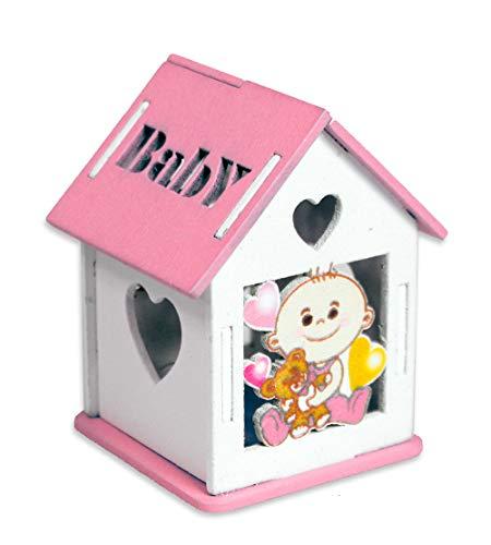 Vetrineinrete® scatoline portaconfetti 36 pezzi rosa a forma di casetta con tetto apribile per confetti scatole decorate con neonato e incisione a cuore bomboniere per nascita battesimo 302231 p42