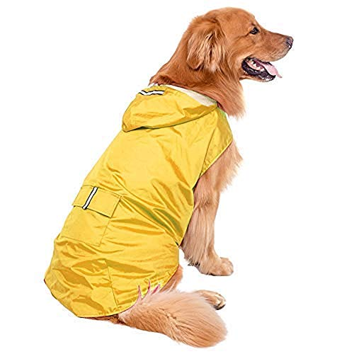 Bwiv Hunde Regenmantel Wasserdicht Hundemantel Groß Gefüttert Ultraleichte Atmungsaktive Hundejacke Reflexstreifen Regenjacke Hunde Mit Kapuze 3XL-6XL Gelb 5XL