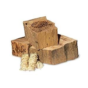 Acapnos Leña de madera de haya de 5 cm, discos pulidos, incluye encendedor de barbacoa para hoguera, fuego abierto…
