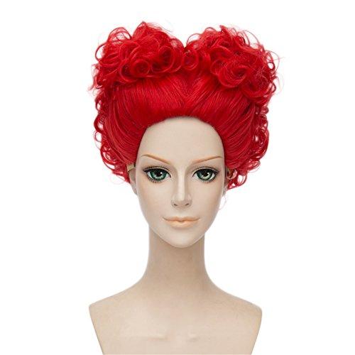 Lisanyeu Damen-Perücke, aufgetürmt als rotes Herz, kurz, gelockt, Halloween-Kostüm, für Cosplay, Partys