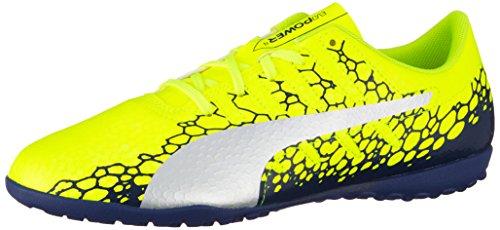 Puma Unisex-Kinder evoPOWER Vigor 4 Graph TT Jr Fußballschuhe, Gelb (Safety Yellow-Silver-Blue Depths), 36 EU (Schuhe Fußball Kinder)