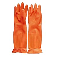 Flower Sea9 1 Pair Due Reusable Long Kitchen Household Cleaning Dishwashing Glove House Hold Rubber Latex Gloves, Orange, L