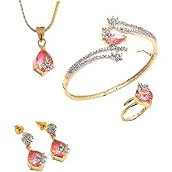 Geode Delight Pink Color Stone Studded American Diamond Pendant Earring Ring Bracelet Set