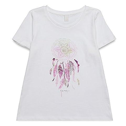 ESPRIT Mädchen Regular Fit T-Shirt RJ10313, Einfarbig, Gr. 116, Weiß (WHITE 010)