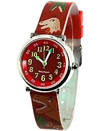 Baby Watch - 3700230606184 - Coffret Bon-Heure Dinosaure - Montre Garçon - Quartz Pédagogique - Cadran Rouge - Bracelet Plastique Multicolore