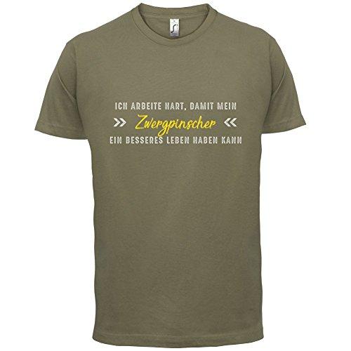 Ich arbeite hart, damit mein Zwergpinscher ein besseres Leben haben kann - Herren T-Shirt - 12 Farben Khaki