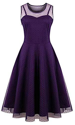 Oriention Damen Cocktailkleid Sexy Ärmellos Elegant 50er Jahre Rockabilly Kurz Kleid Große Größen Abendkleid Festliche Petticoat Kleid (50,lila)