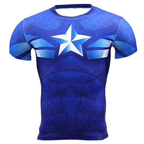 HOOLAZA Captain America Blau Blue Männer Kurzarm Kompression Herren T-Shirt Fitness Sport Gym Compression Avengers Short Shirt Herren Gym Beim Training T-Shirt S