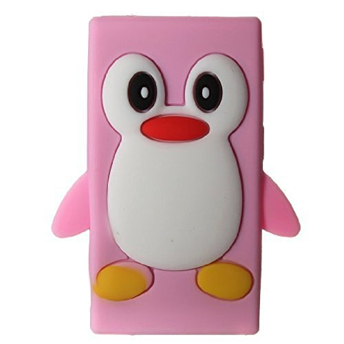 Tsmine Apple Ipod Nano 7th Generation Penguin Cartoon Case - Cute 3D Penguin Soft Silicone Back Washable Cover Case Protective Skin for iPod Nano 7th Gen, Baby Pink Ipod Nano Cover