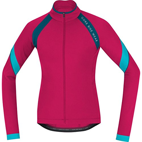 GORE BIKE WEAR Damen Thermo-Rennrad-Jersey, Langarm, GORE Selected Fabrics, POWER LADY 2.0 Thermo Jersey, Größe: 38, Pink/Petrol, KWPOWE (2.0 Lady Tights Power)