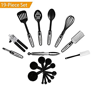 NEXGADGET Premium 19-Piece Kitchen Utensils Sets Stainless Steel And Nylon Cooking Tools Including Spoons, Turners, Tongs, Whisk, Can Opener, Peeler, Scraper, Measuring Cups and Spoons