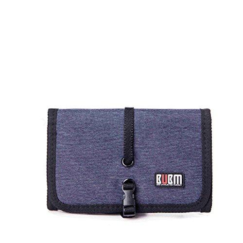 BUBM Universale Wrap Organizzatore per Cavi Custodia USB Drive Dispositivi Pieghevole Rollup Organizer Porta Accessori Elettronici da Viaggio, Piccolo Blu