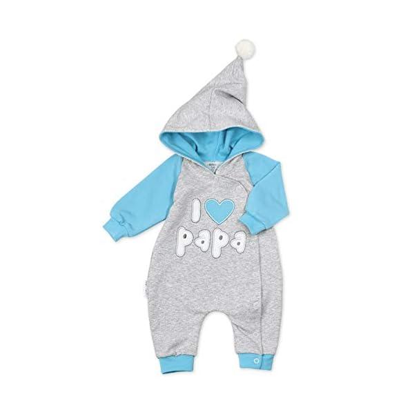 """Baby Sweets – Mono de bebé con capucha en diseño """"I Love Papa"""", como ropa de bebé para niñas & niños/mono para bebé como pelele para recién nacidos & niños pequeños diferentes tamaños 1"""