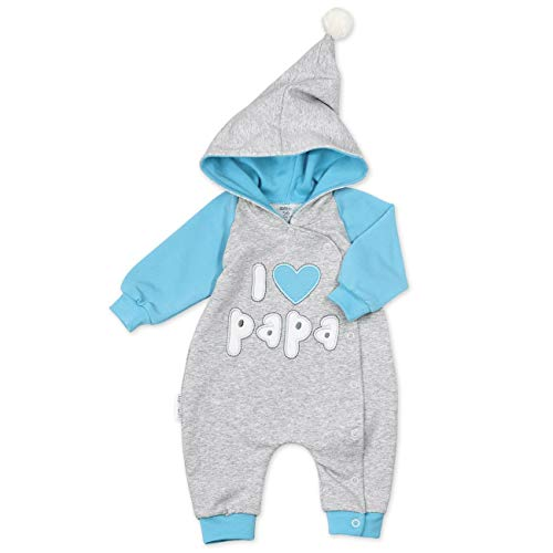 Baby Sweets Overall Jungen grau blau | Motiv: I Love Papa | Babystrampler mit Kapuze für Neugeborene & Kleinkinder | Größe: 3-6 Monate (68)... -