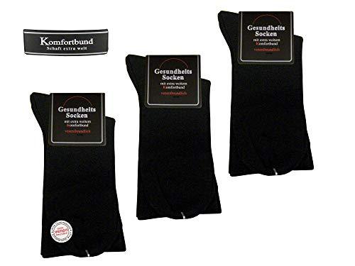 Unbekannt Herren Gesundheitssocken ohne Gummi Übergröße 47-50 Schwarz Diabetiker Venenfreundlich Trichtersocken 80% hochwertige Baumwolle