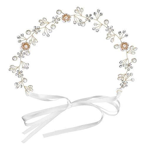 INTVN Braut Haarschmuck Vintage Haar Rebe Stirnbänder Strass Perlen Blumen Hochzeit Haarteile Stirnband Haarband Gold