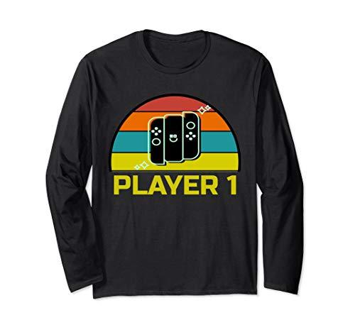 Gaming Paar Kostüm - Player 1   Videospiel Gamer Spieler 1 Langarmshirt