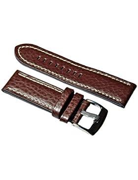 Uhrenarmband Leder Braun Büffel Prägung mit Naht 18-20-22-24mm Armband Uhr Band 22mm