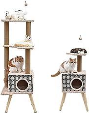 OHANA PAWZ Road Kratzbaum Katzenkratzbaum mit Katzenhöhle/Katzenhaus und Katzenspielzeug Ball Natur Sisal Kletterbaum für Katzen