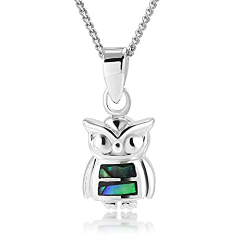 925 Sterling Silver Cute Natural Abalone Shell Inlay Owl Pendant Necklace 18