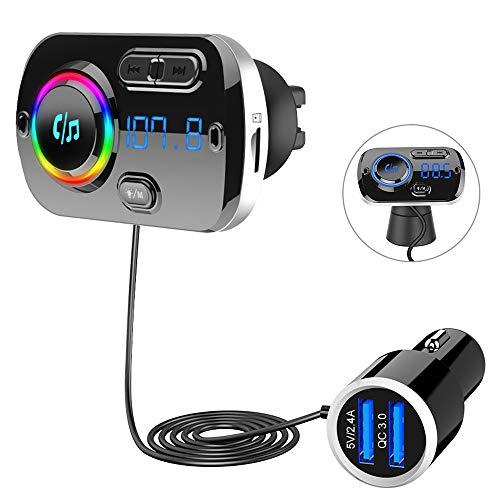 Bluetooth 5.0 FM Transmitter, SONRU Auto Bluetooth Radio Transmitter Freisprecheinrichtung KFZ Audio Adapter MP3 Player mit QC3.0 USB Auto Ladegerät, Unterstützungs TF Karten AUX Ausgang, 7 Farblicht
