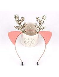 XIAOBAI Accesorios para el cabello, lentejuelas, orejas de gato, diadema, lindo, tocado, adulto, niños, vacaciones, regalo de navidad, rosa