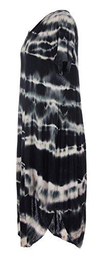 Ladies Womens Italian Lagenlook Quirky Short Sleeve Tie Dye Viscose Cocoon Hem Dress One Size UK 8-14 (One Size, Black)