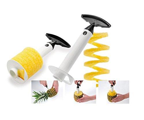 Ducomi Ananas Exotic Tranche-ananas à spirale Acier inoxydable 3 outils en 1 Pelez, tranchez et décorez avec des fruits