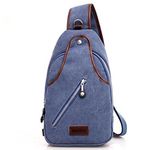 FZHLY Retro Männer Und Frauen Brusttasche Segeltuch-Schulter-diagonale Reise Chest Tasche,Blue Blue