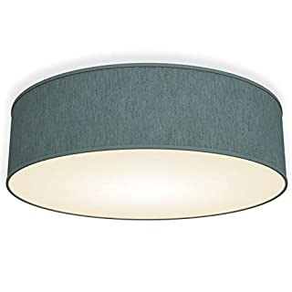 LED Fabric Ceiling lamp I Ø 40cm Ceiling Bulb Cover I Modern Light Fitting I Living Room I Bedroom I Kitchen I Round Shade Cover I Teal-Grey I E14 Socket I Great Quality
