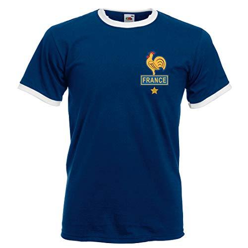 Print Me A Shirt Camiseta de fútbol Retro Adultos y para Hombre Platini France - Azul Marino/Blanco