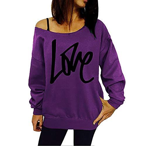 MYMYG Damen Herbst Trägerlos Lose Oversize Langarm Top Sweatshirt Aufdruck Pullover Mode Sexy Frauen Brief Print Tops Bluse Pullover aus der Schulter Sweatshirt (Lila,EU:36/CN-M)