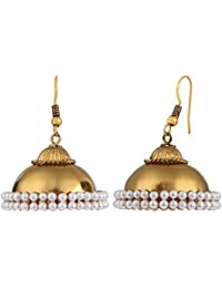 Efulgenz Gold Plated Pearl Traditional Jhumka Jhumki Earrings For Girls And Women