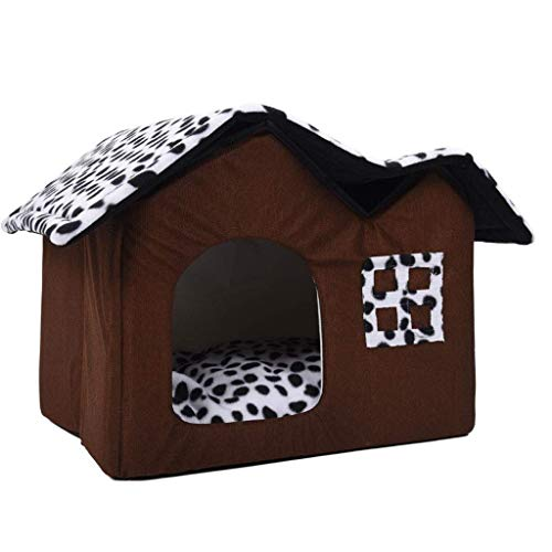 YSA Pet House Double Dog Room Braunes Hundebett Double Pet House Weiches, warmes Hundehaus 55 x 40 x 42 cm Heimtierbedarf (Farbe: Braun, Größe: 55 cm)