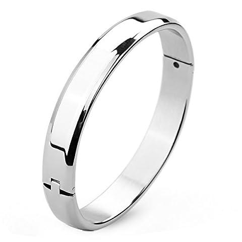 MunkiMix 10mm Stainless Steel Bracelet Bangle Cuff Silver Tone Women,Men