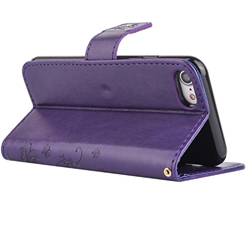 Custodia iPhone 5, iPhone 5S Flip Case Leather, SainCat Custodia in Pelle Flip Cover per iPhone 5/5S/SE, Custodia Bling Glitter Diamante Ultra Sottile Anti-Scratch Book Style Custodia Morbida Cover Pr Deep Purple #2