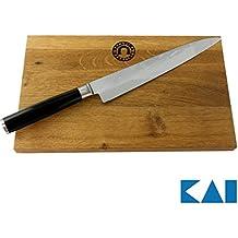 KAI/Palatina Werkstatt Kai Shun Geschenkset Pro SHO VG-0004 Yanagiba Messer 21 cm Klinge + von Hand gefertigtes Schneidebrett aus Fassholz, 30x18 cm