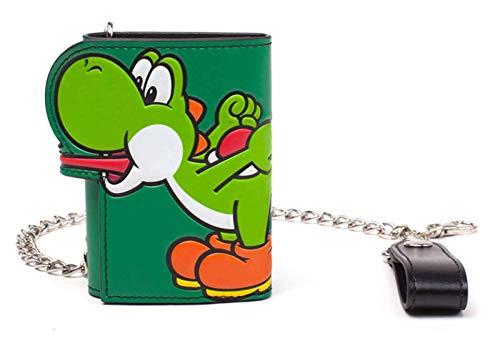 Nintendo Super Mario Brieftasche Yoshi Tongue Nue offiziell Grün Tri Fold Chain