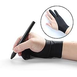 Guantes libre tamaño antiincrustantes dibujo artista guante con dos dedos para tableta gráfica pluma pantalla caja de luz