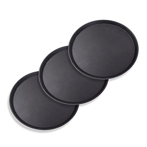 Schramm® 3 Stück Gastro Tablett 35x2cm rund schwarz 3er Pack mit Anti Rutsch Beschichtung hoher Rand Kellnertablett Kellner Gastro Tablett Tabletts Serviertablett Gläsertablett