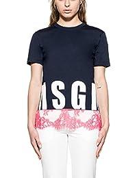 Msgm Femme 2242MDM177X17298 Bleu Coton T-Shirt
