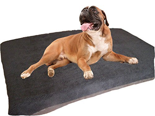 KosiPet Large Deluxe High Density Foam Mattress Waterproof Dog Bed Beds Black Sherpa Fleece