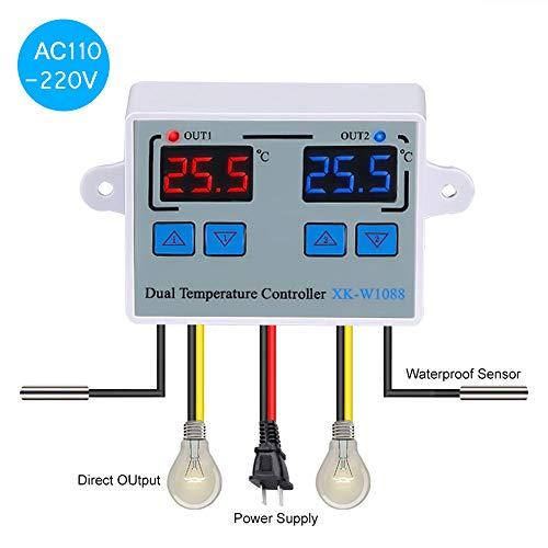 Leepesx Doppio termostato digitale con termostato Regolatore di temperatura due relè di uscita per incubatore Riscaldamento Raffreddamento XK W1088