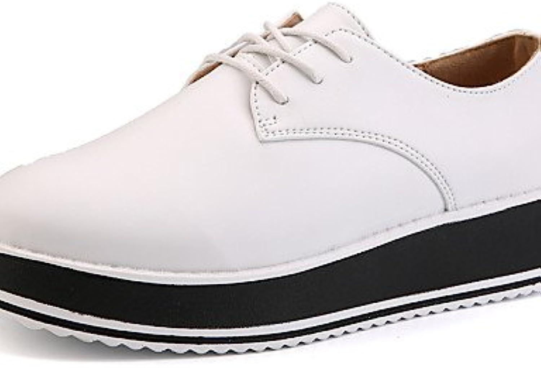 NJX/ hug Zapatos de mujer-Tacón Cuña-Creepers / Comfort-Oxfords-Exterior / Vestido / Casual-Cuero-Negro / Blanco...