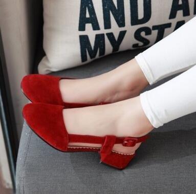 2016 Frühling und Sommer Nubukleder Damen Sandalen Rot